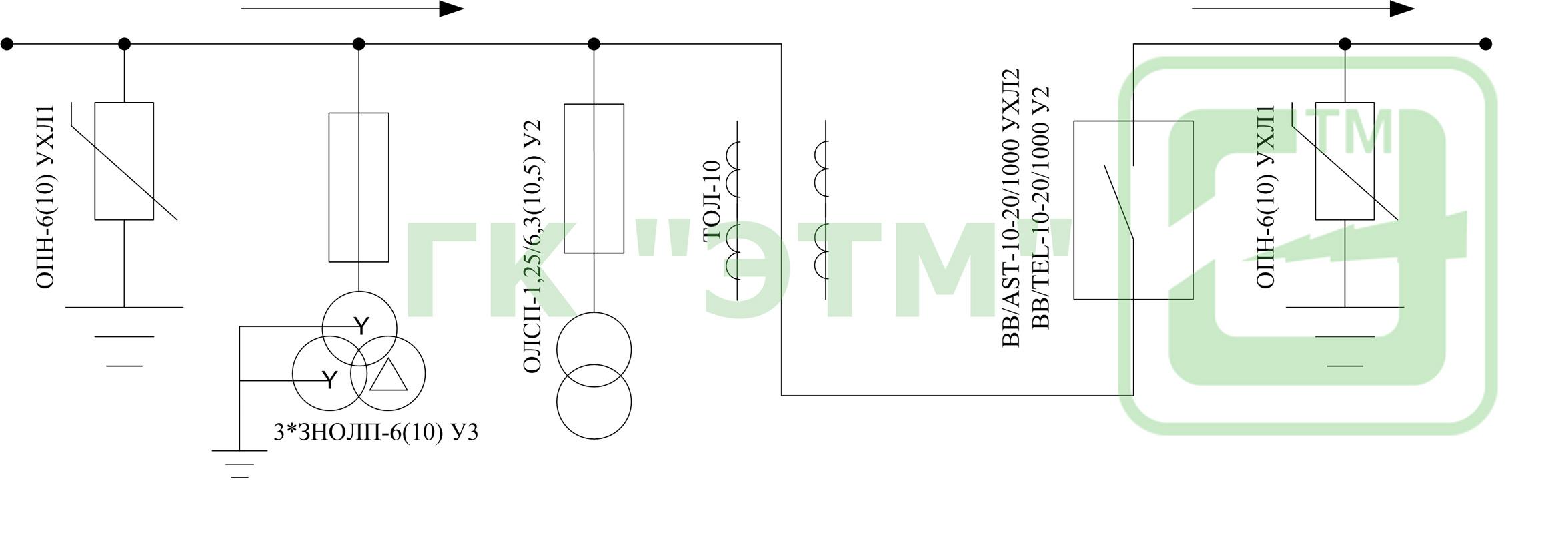 схема монтаж рлк на опоре